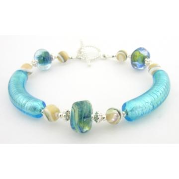 Caribbean Sands Bracelet - green shell gemstone artisan venetian tubes lampwork sterling silver handmade aqua blue sand srajd cserpentDesigns