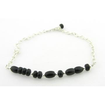 Bite Me Morse Code Bracelet - black onyx handmade sterling silver artisan srajd cserpentDesigns