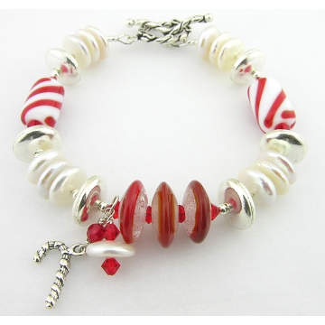 Christmas Pearls Bracelet - candy cane artisan lampwork, freshwater pearl disks, sterling silver, Swarovski crystals red white holiday srajd, cserpentDesigns