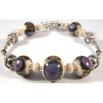 Organic Purple Bracelet - purple ivory brown bracelet with artisan lampwork river stone gemstone and sterling silver srajd cserpentDesigns