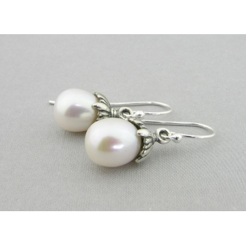 White Pearl Petals Drops Earrings - white freshwater pearl dangle drop sterling silver handmade artisan srajd cserpentDesigns