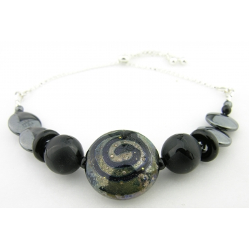 Night Sky Slider Bracelet - handmade artisan lampwork black onyx hematite gemstone sterling silver srajd cserpentDesigns