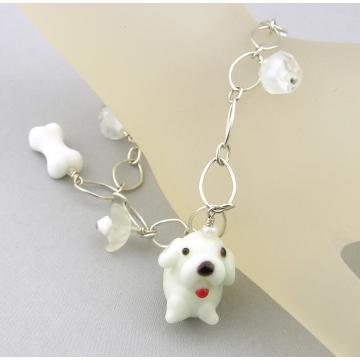 White Dog and Vintage Crystals Charm Bracelet - handmade artisan white dog bone glass flower heart Swarovski sterling silver srajd cserpentDesigns