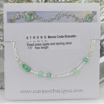 Strong Morse Code Bracelet - green weed grass agate handmade sterling silver artisan srajd cserpentDesigns