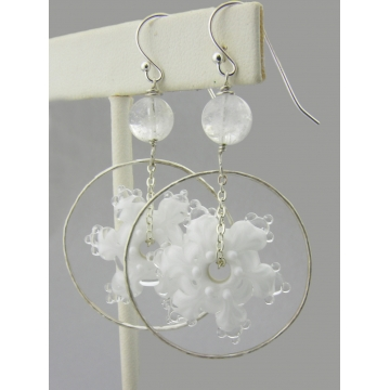 Ringed Snowflakes Earrings - white snowflake lampwork dangle winter drop sterling silver ring Christmas handmade artisan srajd cserpentDesigns