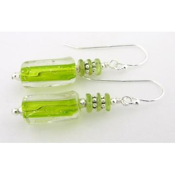 Peridot Stack Earrings - artisan furnace glass sterling silver lime green peridot gemstones short drop srajd cserpentDesigns