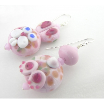 Bunny Butt Earrings - pink bunny lampwork sterling silver Easter rabbit handmade artisan srajd cserpentDesigns
