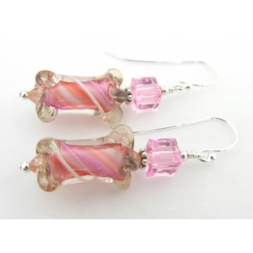 Sherbet Earrings - handmade, artisan furnace glass, sterling silver pink white peach swirl cube srajd cserpentDesigns