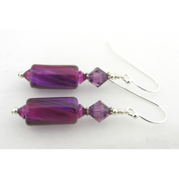 Fuchsia and Grape Earrings - handmade, artisan furnace glass, sterling silver fuchsia purple grape sparkle swirl srajd cserpentDesigns