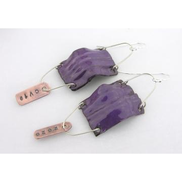 Small COVID19 Mask Earrings - handmade artisan copper aqua blue purple enamel fold formed surgical covid coronavirus srajd cserpentDesigns dangle