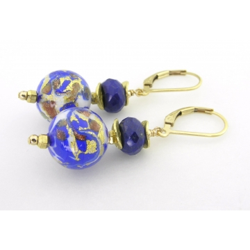 Lapis Venetian Swirl Earrings - gold filled blue lapis lazuli gemstones white handmade srajd cserpentDesigns