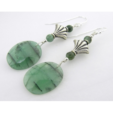 Emeralds and Fans Earrings - sterling silver artisan srajd cserpentDesigns