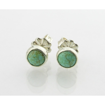 Turquoise Post Earrings - light blue green turquoise stud post sterling silver handmade artisan srajd cserpentDesigns