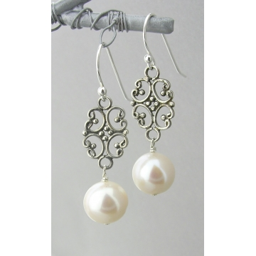 Filigree Pearl Drop Earrings - white freshwater pearl dangle drop sterling silver filigree handmade artisan srajd cserpentDesigns