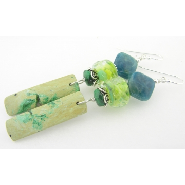 Contemplation Earrings - handmade artisan lampwork sterling silver lime green chrysocolla apatite malachite gemstone srajd cserpentDesigns