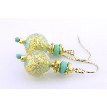 Golden Crackle Earrings - gold filled gold leaf turquoise gemstone sparkle gold vermeil handmade srajd cserpentDesigns