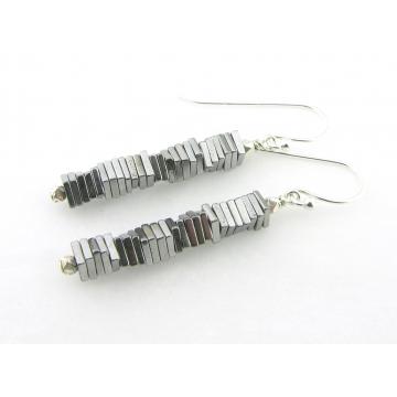 Silver Pyrite Column Earrings - handmade artisan pyrite gemstone sterling silver srajd cserpentDesigns