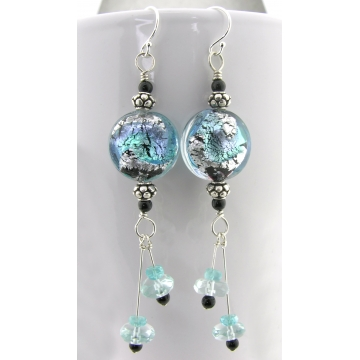 Aqua Crackle Earrings - handmade venetian glass sterling silver aquamarine black onyx apatite gemstone aqua blue teal dangle srajd cserpentDesigns