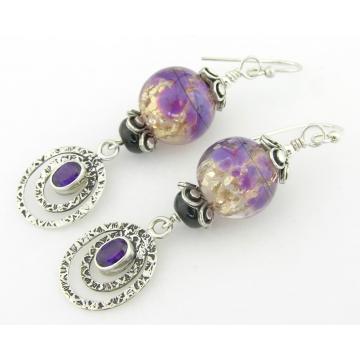 Purple Party Earrings - handmade artisan lampwork sterling silver purple black silver amethyst gemstones black onyx dangle srajd cserpentDesigns february birthstone