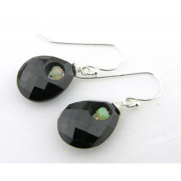 Fire In The Dark Earrings - handmade black onyx Ethiopian opal gemstone sterling silver drops artisan short srajd cserpentDesigns