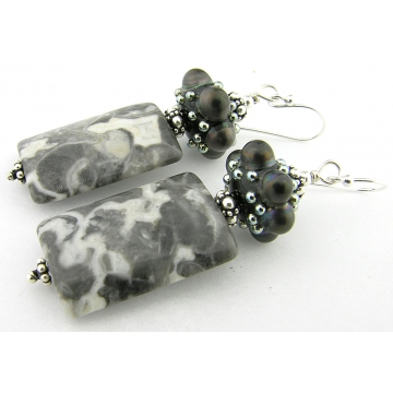 Jewelled Granite Earrings - handmade artisan Alaska granite grey gray black white dots sterling silver srajd cserpentDesigns