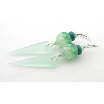 Aqua Spikes Earrings - handmade artisan petal lotus lampwork sterling silver chalcedony burmese jade gemstone light green white srajd cserpentDesigns