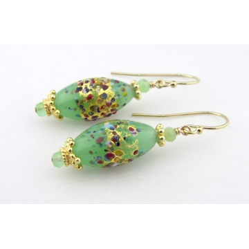 Golden Sea Foam Klimt Earrings - gold filled light green chrysoprase gemstone venetian sparkle vermeil handmade srajd cserpentDesigns