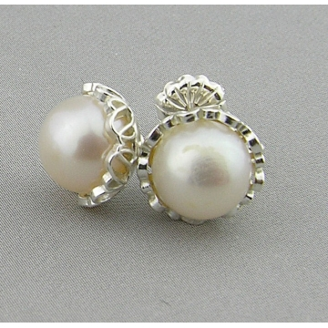 White Pearl Petals Earrings - white freshwater pearl post sterling silver filigree handmade artisan srajd cserpentDesigns