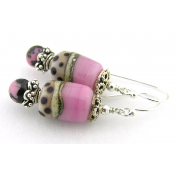 Pink and Polka Dot Earrings - handmade, artisan lampwork, sterling silver pink black dots rhodonite gemstone srajd cserpentDesigns
