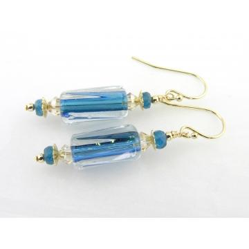 Teal and Gold Furnace Glass Earrings - handmade, artisan teal furnace glass, gold filled apatite gemstones sparkle swirl srajd cserpentDesigns