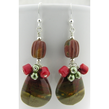 Red Creek Drops Earring - red green creek jasper gemstone bamboo coral dangle artisan sterling silver srajd cserpentDesigns
