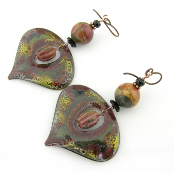 Red Creek Crackle Drop Earrings - red creek jasper black onyx gemstone yellow dangle artisan copper srajd cserpentDesigns