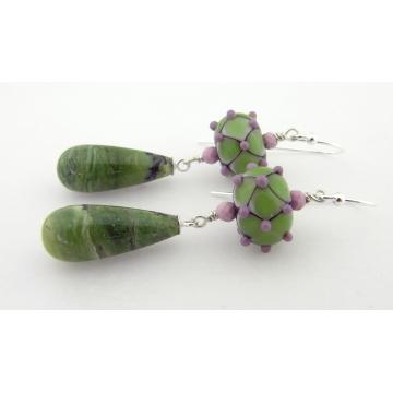 Harlequin Beauties Earrings - handmade artisan lampwork sterling silver green opal phosphosiderite gemstone lavendar sage green dangle srajd cserpentDesigns