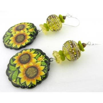 Sweet Sunflower Earrings - yellow lampwork sterling silver black yellow green sunflower flower brown bronzite gemstone dangle handmade artisan srajd cserpentDesigns