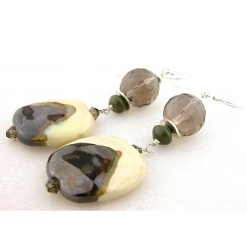 Smoked Vanilla Earrings - ivory green brown Kazuri ceramic sterling silver smoky quartz jasper gemstone dangle handmade artisan srajd cserpentDesigns