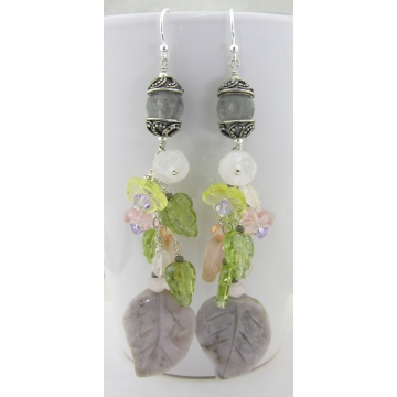 Fading Spring Earrings - handmade Botswana agate leaf gemstone artisan gray rose quartz flowers sterling silver dangle wire wrapped cserpentDesigns srajd