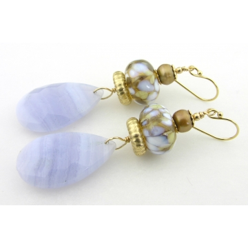 Whispers of Blue Earrings - handmade artisan with light blue lace agate gemstone lampwork gold fill freshwater pearls dangle srajd cserpentDesigns