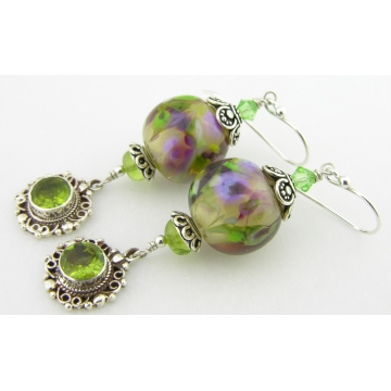 Purple and Peridot Earrings - handmade artisan lampwork sterling silver green gemstone dangle srajd cserpentDesigns