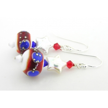 Stars and Spots Earrings - handmade artisan lampwork red white blue freshwater pearl sterling silver dangle stripes patriotic july4th srajd cserpentDesigns