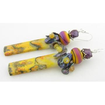 Pacific Sunshine, Sunset Earrings - handmade artisan lampwork sterling silver bumble bee jasper gemstone srajd cserpentDesigns yellow purple black magenta
