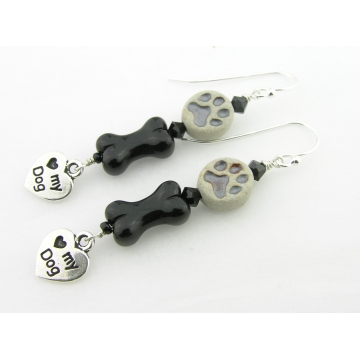 Paw Prints Earrings - handmade artisan sterling silver black glass bone grey dog love dangle srajd cserpentDesigns