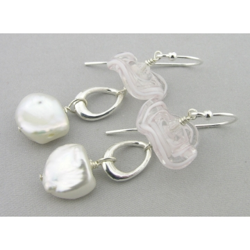 Tutus And Pearls Earrings - white freshwater pearl lampwork dangle drop sterling silver ruffle baroque handmade artisan srajd cserpentDesigns