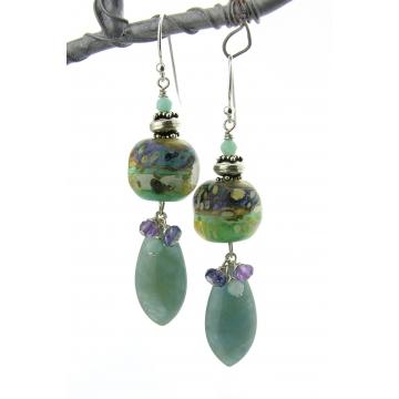 Swirling Jewels Earrings - handmade, aquamarine amethyst iolite amazonite gemstones, artisan lampwork, sterling silver, dangle, wire wrapped, srajd cserpentDesigns