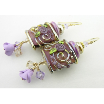 Gilded Purple Roses Earrings - handmade gold filled purple srajd cserpentDesigns