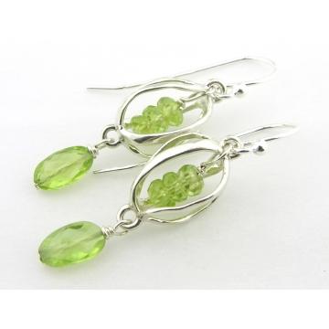 Caged Peridot Earrings - green lime handmade gemstone artisan srajd cserpentDesigns