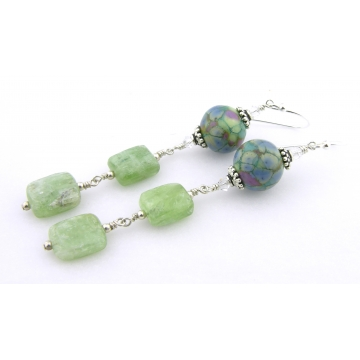 Thinking of Spring Earrings - handmade blue, green purple artisan lampwork sterling silver green kyanite gemstone srajd cserpentDesigns