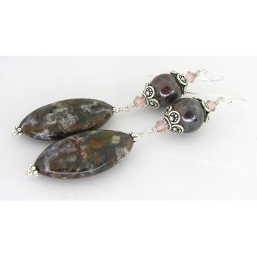 Lovely Rocks Earrings - handmade jasper brown rose pink white green boulder opal sterling silver dangle wire wrapped cserpentDesigns srajd artisan gemstone