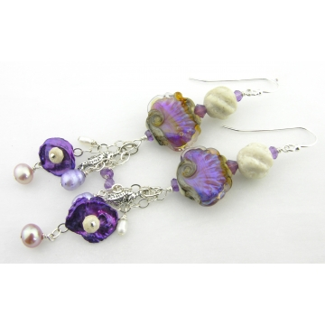 Seahorses Garden Earrings - handmade purple shell pearl artisan lampwork riverstone amethyst gemstone white srajd cserpentDesigns