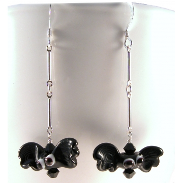 A Little Batty Earrings - black bats lampwork sterling silver artisan srajd cserpentDesigns halloween