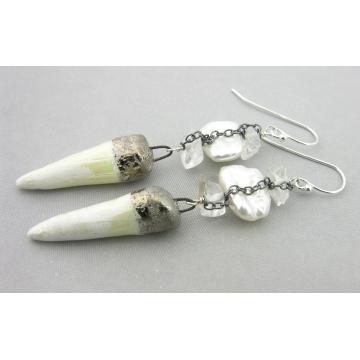Winter White Spikes Earrings - white freshwater pearl porcelain spike crystal quartz gemstone sterling silver handmade artisan srajd cserpentDesigns